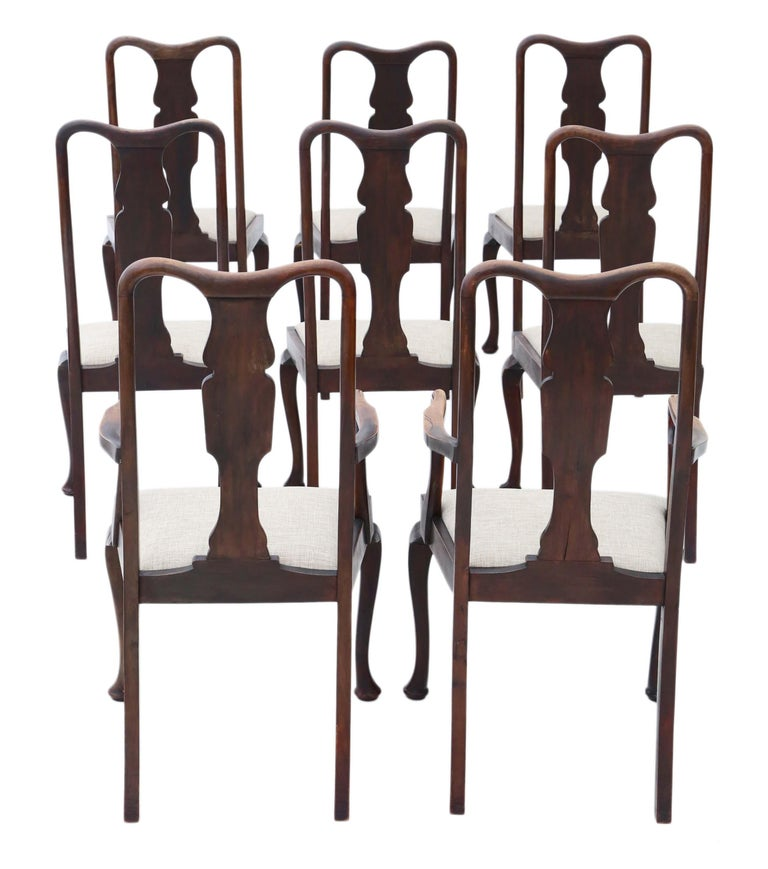 Antique set of 8 (6+2) mahogany Queen Anne revival dining chairs. Date from circa 1910. No loose joints and no woodworm. Great Queen Anne styling. New upholstery. Overall maximum dimensions: Chair, 53cm W x 53cm D x 110cm H (47cm H seat when