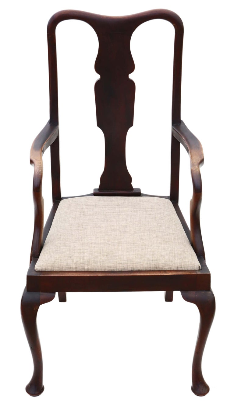 Early 20th Century Set of 8 '6+2' Mahogany Queen Anne Revival Dining Chairs For Sale
