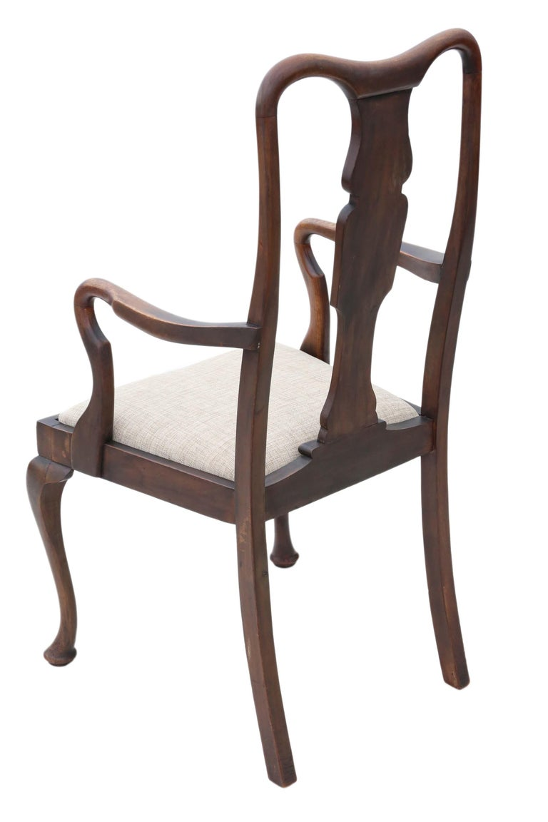Set of 8 '6+2' Mahogany Queen Anne Revival Dining Chairs For Sale 1