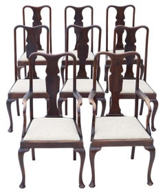 Set of 8 '6+2' Mahogany Queen Anne Revival Dining Chairs