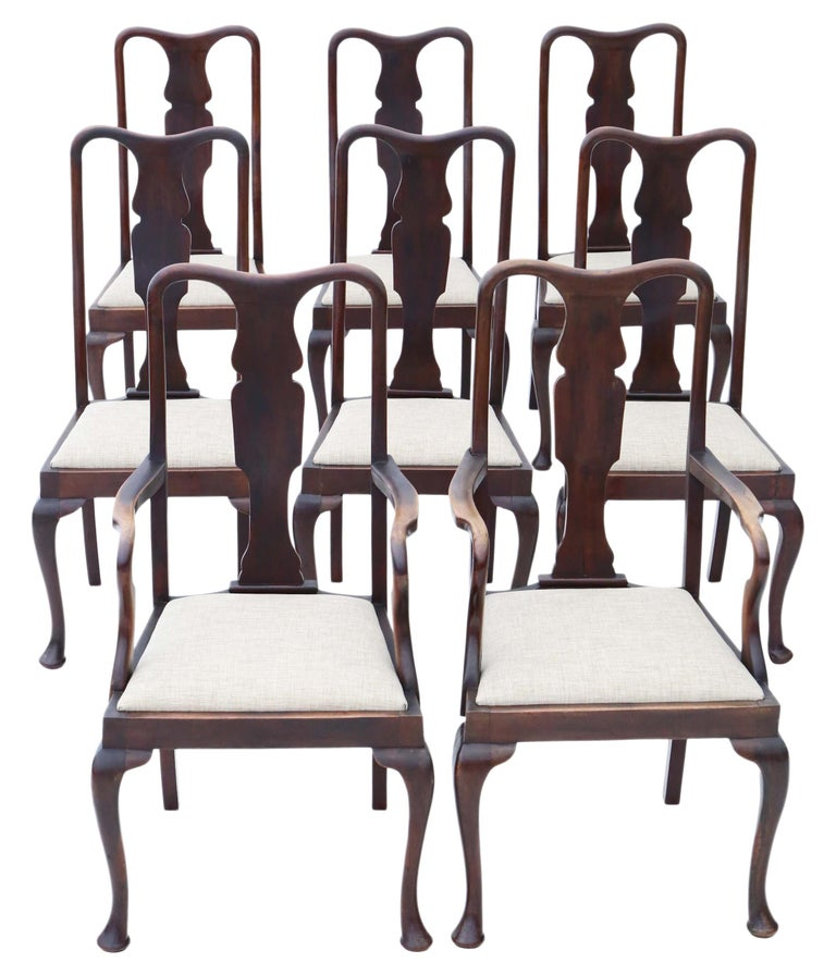 Set of 8 '6+2' Mahogany Queen Anne Revival Dining Chairs For Sale