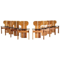 Set of 8 Africa Chairs, Afra & Tobia Scarpa, Maxalto, Italy, 1970s