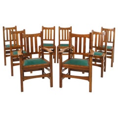 Set of 8 American Stickley Arts & Crafts Mission Oak Dining Chairs, circa 1900