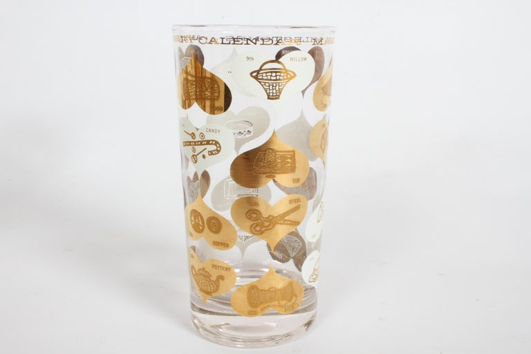 Set of 8 Anniversary Calendar of Marital Milestones 22-Karat Highball Glasses For Sale 6