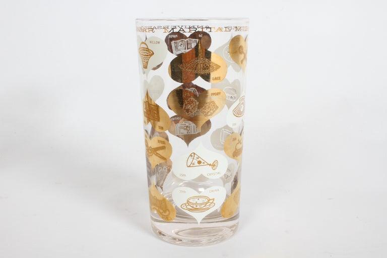 Set of 8 Anniversary Calendar of Marital Milestones 22-Karat Highball Glasses For Sale 7
