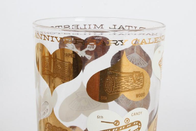 Mid-Century Modern Set of 8 Anniversary Calendar of Marital Milestones 22-Karat Highball Glasses For Sale