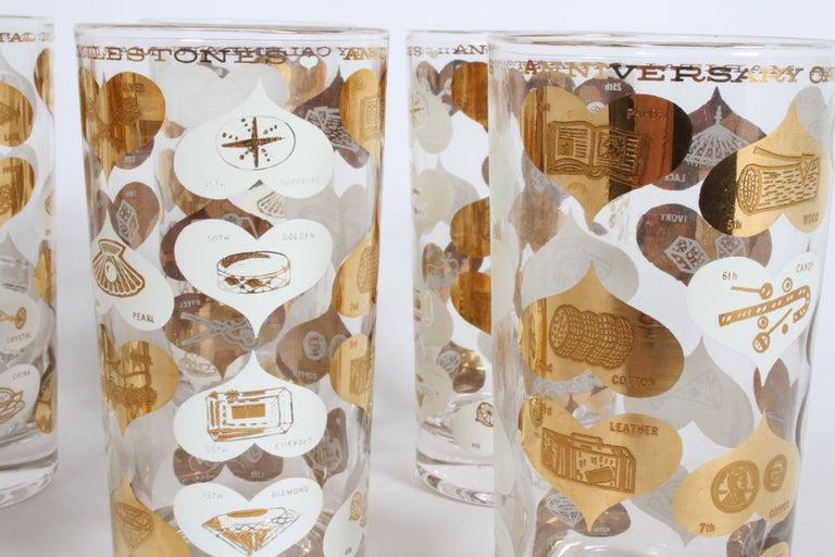 American Set of 8 Anniversary Calendar of Marital Milestones 22-Karat Highball Glasses For Sale