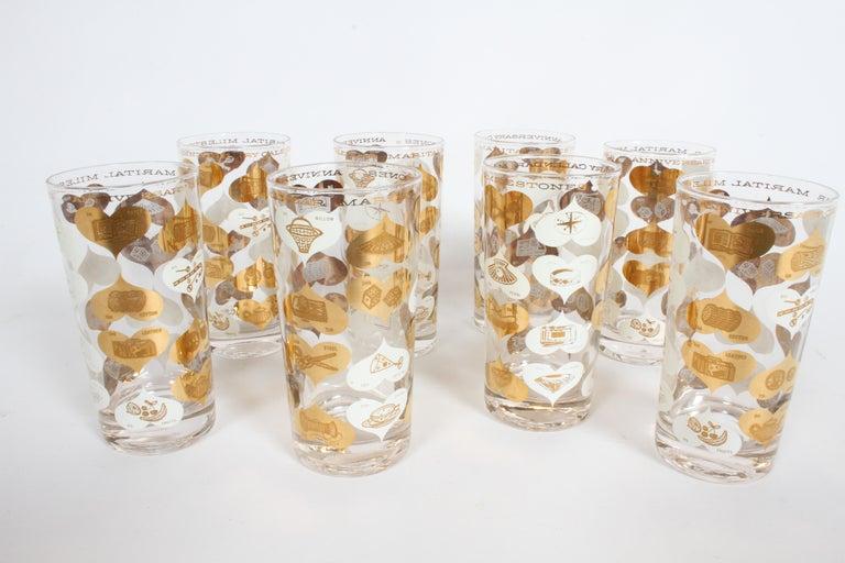 Mid-20th Century Set of 8 Anniversary Calendar of Marital Milestones 22-Karat Highball Glasses For Sale