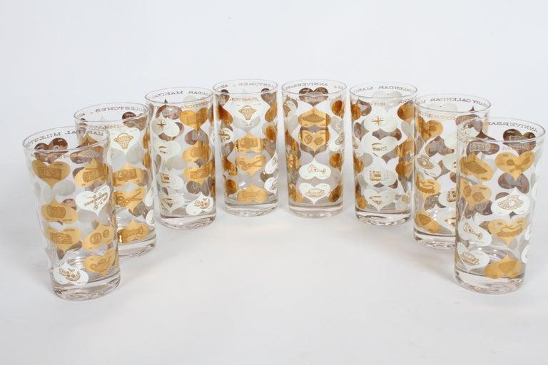 Set of 8 Anniversary Calendar of Marital Milestones 22-Karat Highball Glasses For Sale 1