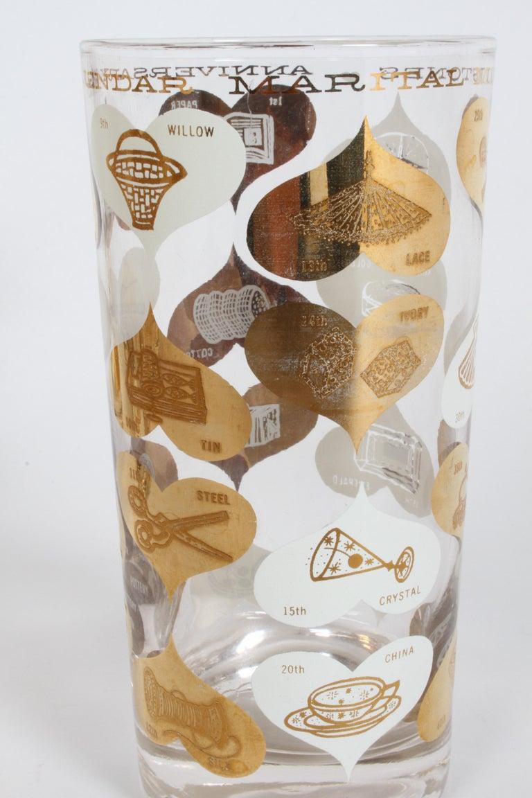 Set of 8 Anniversary Calendar of Marital Milestones 22-Karat Highball Glasses For Sale 2