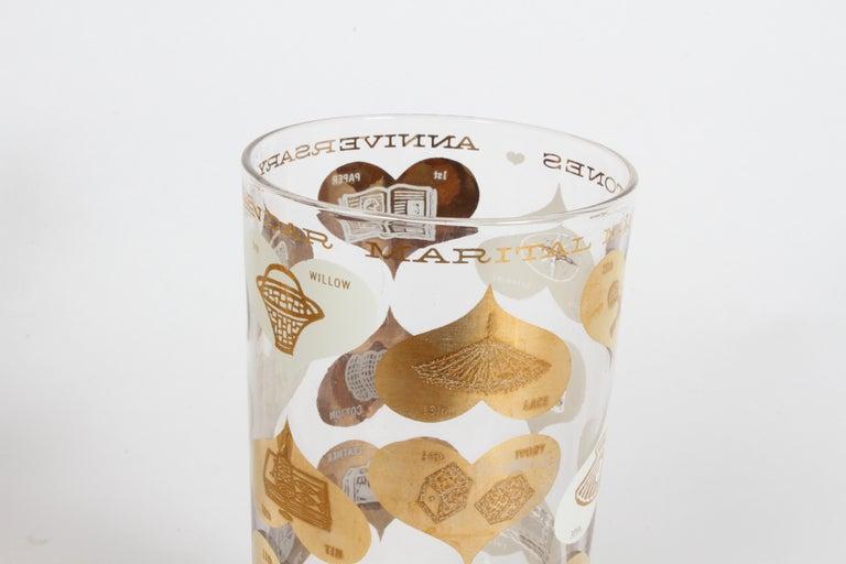 Set of 8 Anniversary Calendar of Marital Milestones 22-Karat Highball Glasses For Sale 3