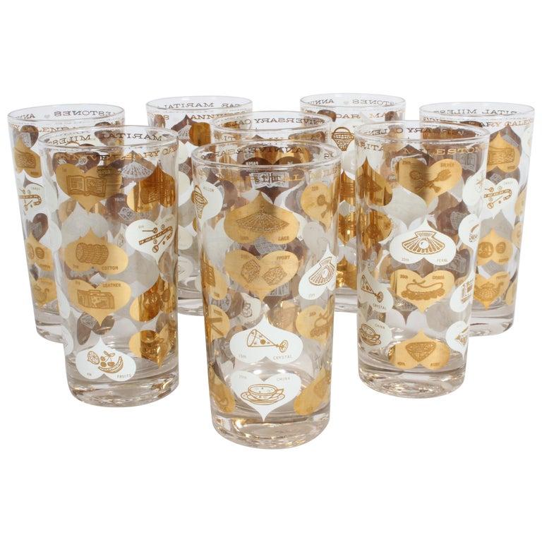 Set of 8 Anniversary Calendar of Marital Milestones 22-Karat Highball Glasses For Sale