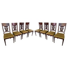 Set of 8 Antique 18th Century Style Italian Star Back Dining Chairs