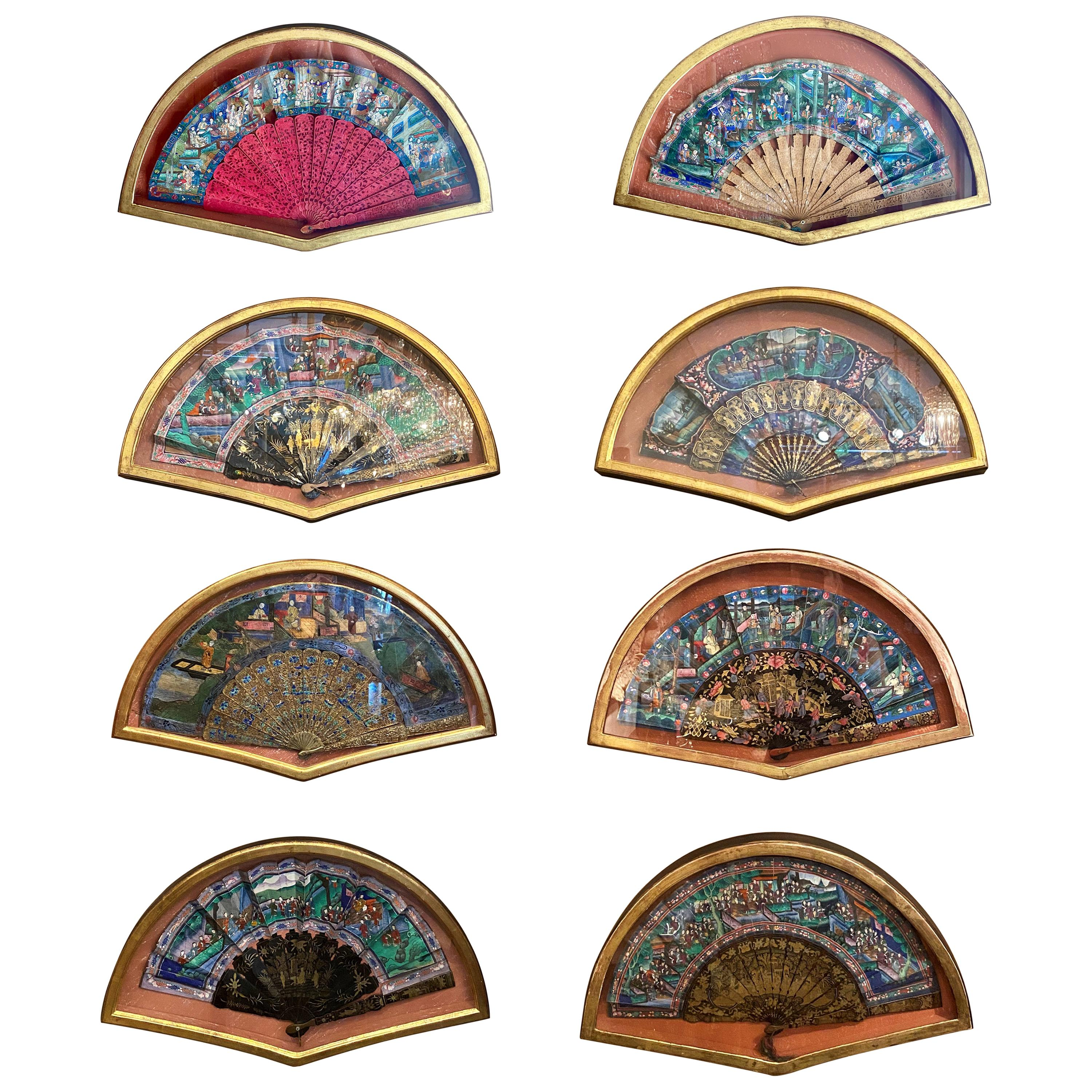Set of 8 Antique 19th Century Japanese Hand Painted Fans