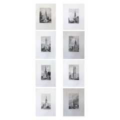 Set of 8 Antique Architectural Prints of English Churches, 1836