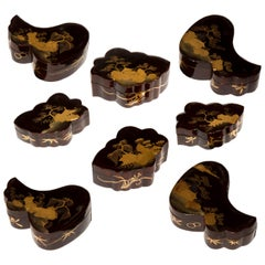 Set of 8 Antique Chinoiserie Lacquer Jewelry Boxes, Japanese, 19th Century