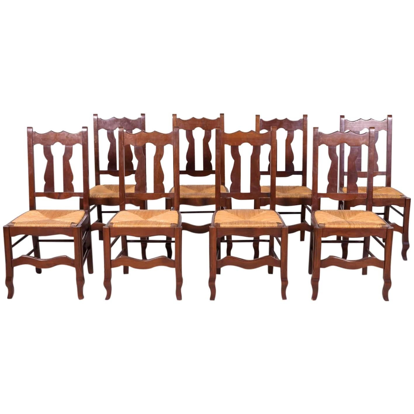 Set of 8 Antique Country French Hand Carved Oak Dining Chairs with Rush Seats