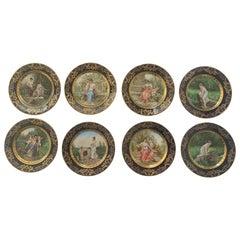 Set of 8 Antique Dresden Cabinet Plates