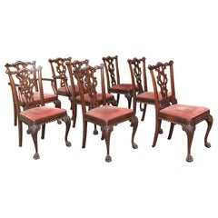 Set of 8 Antique English Mahogany Chippendale Dining Chairs with 2 Armchairs