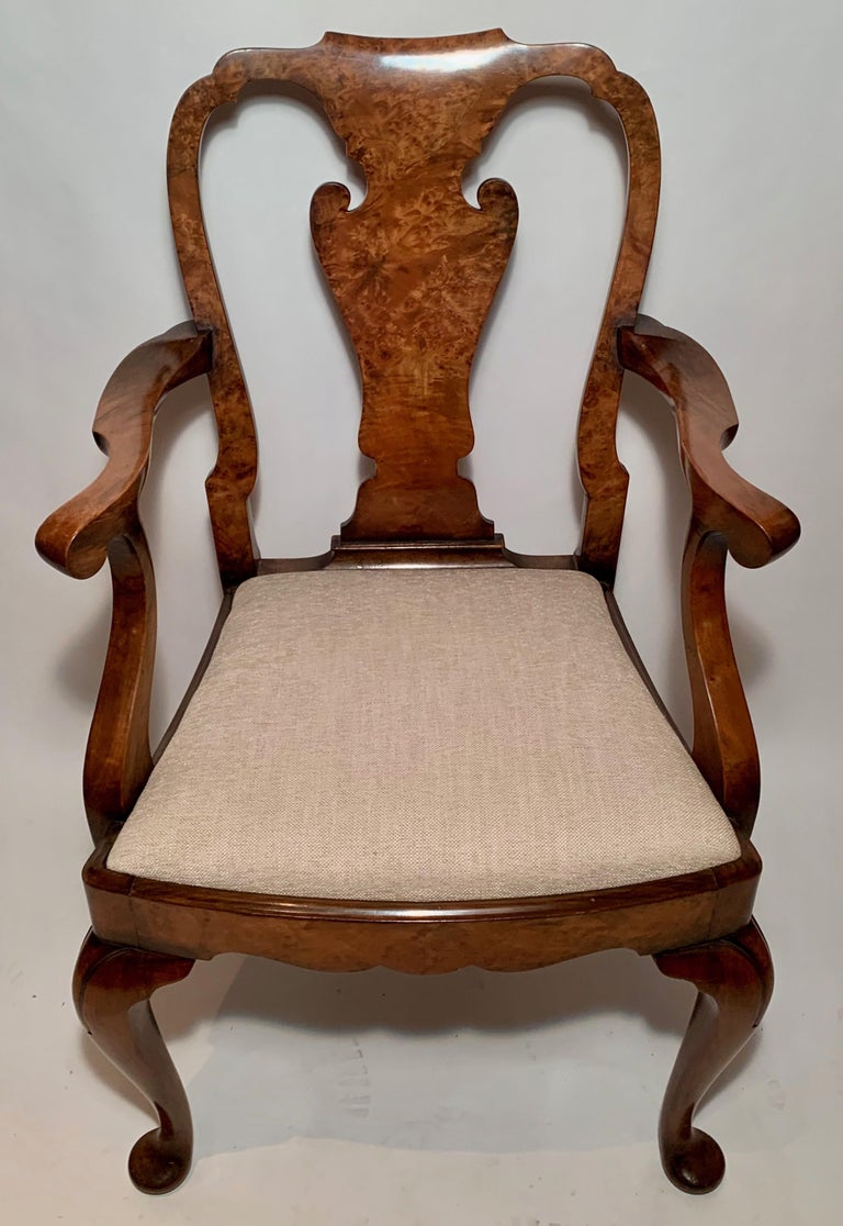 Set of 8 antique English Queen Anne burl walnut dining chairs, circa 1890.
