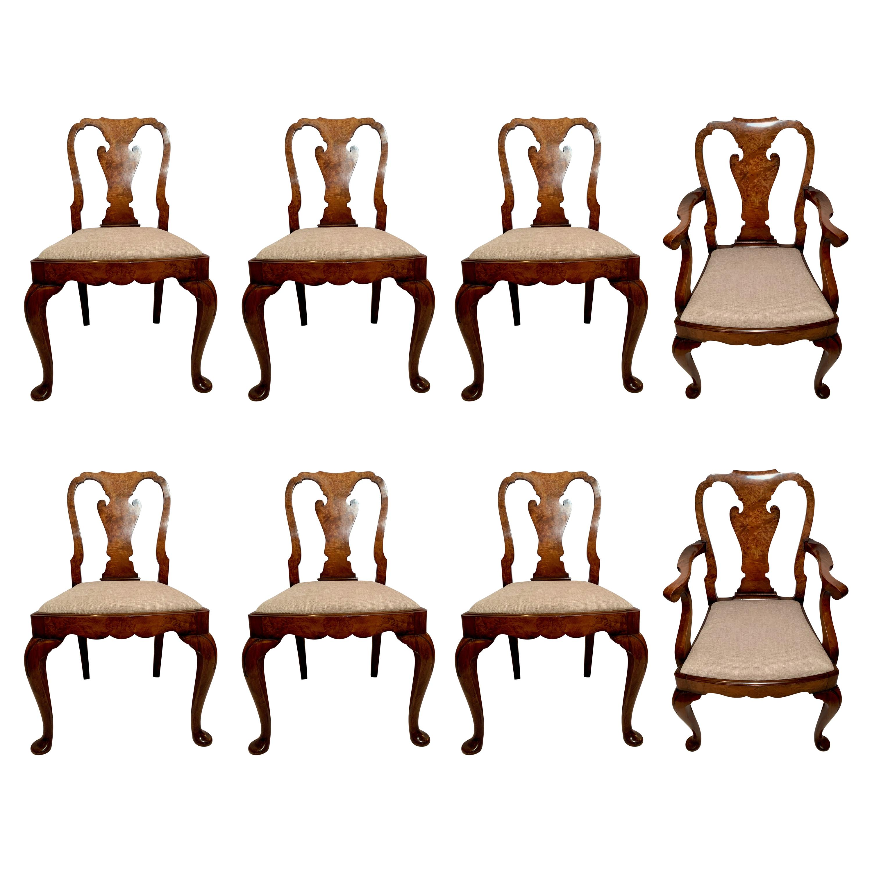 Set of 8 Antique English Queen Anne Burl Walnut Dining Chairs