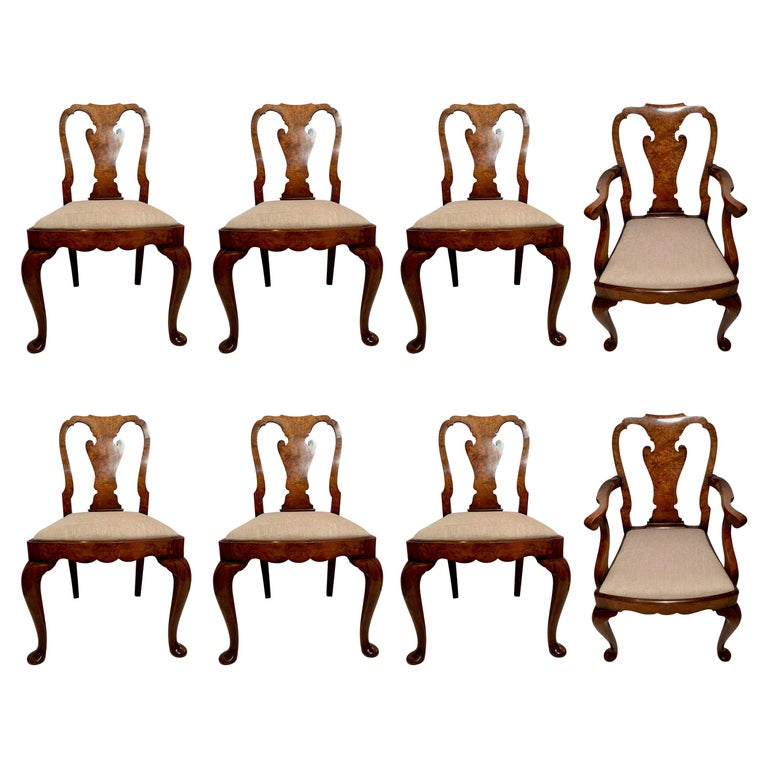 Set of 8 Antique English Queen Anne Burl Walnut Dining Chairs For Sale