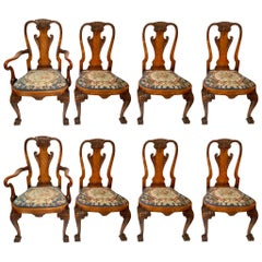 Set of 8 Antique English Walnut Dining Chairs with Old Needlepoint, circa 1850