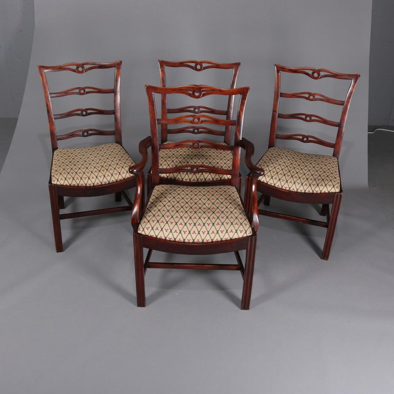 American Set Of 8 Antique Federal Style Mahogany Ribbon Back Dining Chairs Circa 1930 For