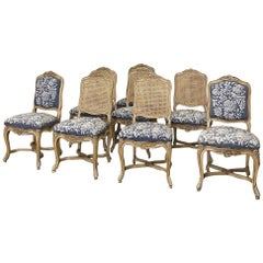 Set of 8 Antique French Louis XV Fruitwood Dining Chairs