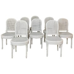 Set of 8 Antique French Louis XVI Painted Dining Chairs