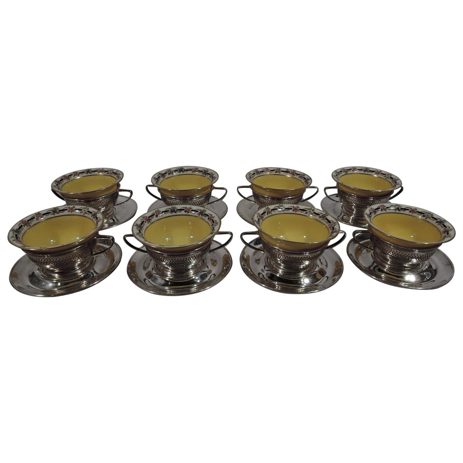 Set of 8 Antique Gorham Bouillon Soup Holders and Lenox Bowls