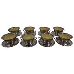 Set of 8 Antique Gorham Bouillon Soup Holders and Lenox Bowls
