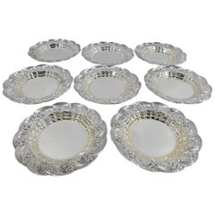 Set of 8 Antique Hard-to-Find Tiffany Chrysanthemum Butter Pats