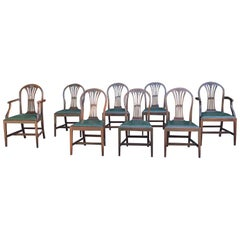 Set of 8 Antique Hepplewhite Dining Chairs with 2 Armchairs, circa 1920