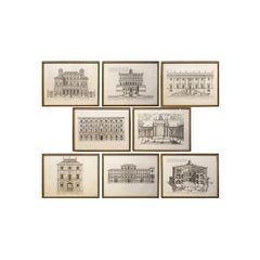 Set of 8 Antique Italian Architectural Prints in Beaded Giltwood Frames