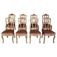 Set of 8 Antique Liegoise Country French Dining Chairs