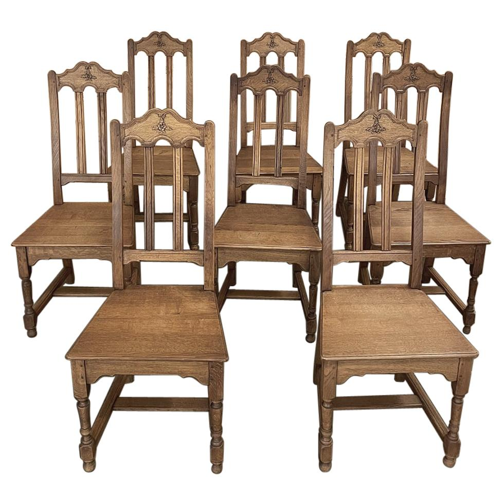 Set of 8 Antique Liegoise Rustic Country French Dining Chairs