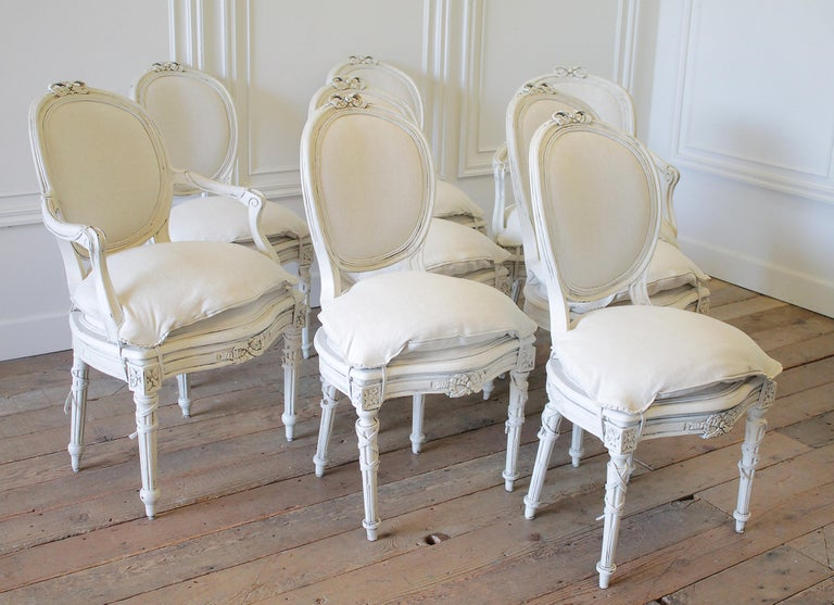Set Of 8 Antique Louis Xvi Style Painted And Upholstered
