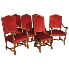 Set of 8 Antique Os de Mouton Dining Chairs with Square Peg Construction