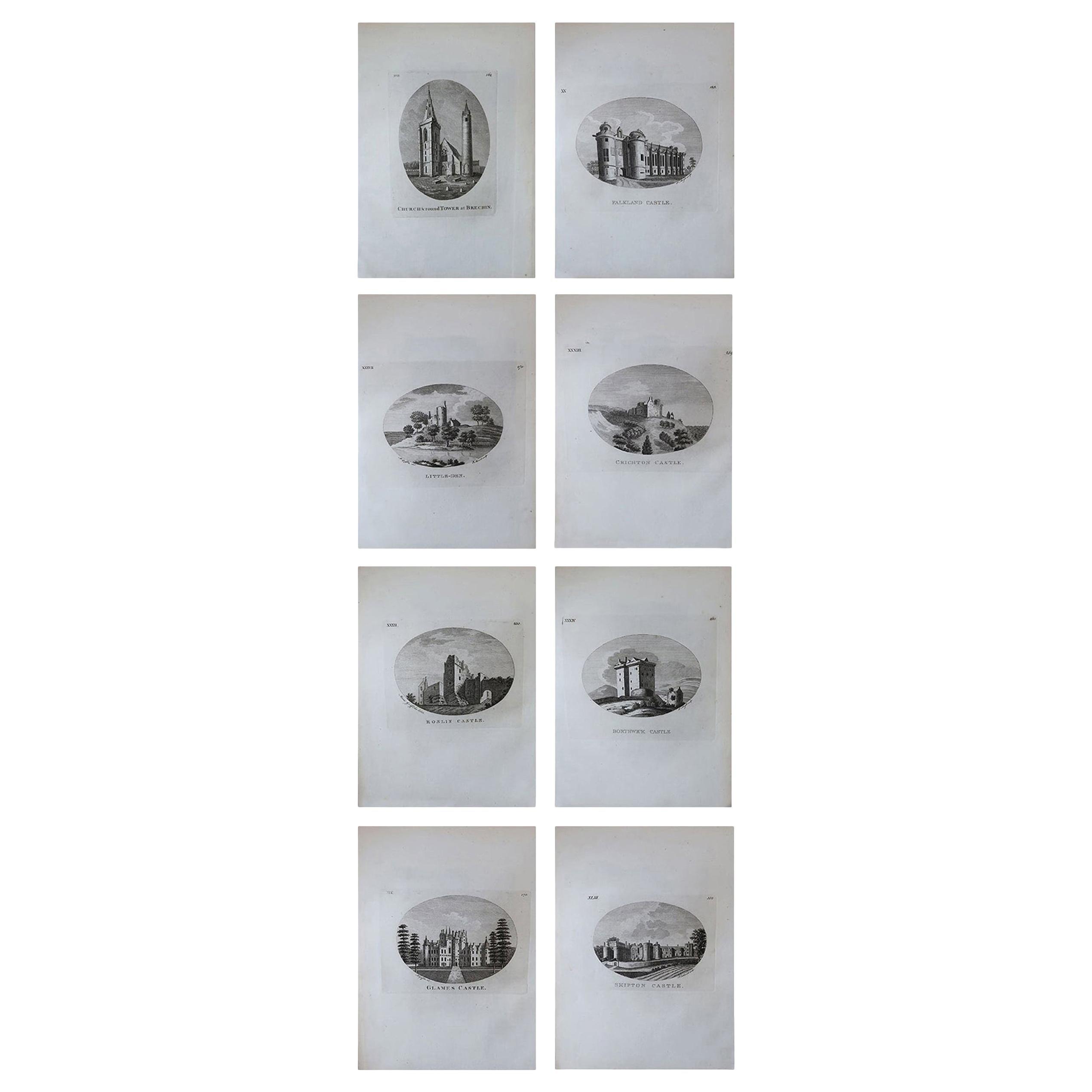 Set of 8 Antique Prints of Scottish Castles, circa 1770