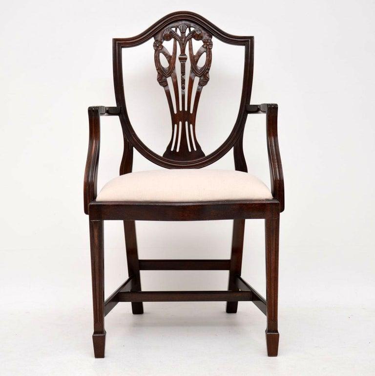 Set of 8 Antique Sheraton Style Mahogany Shield Back Dining Chairs at 1stdibs