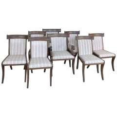 Set of 8 Antique Swedish Dining Chairs Includes 2 Armchairs