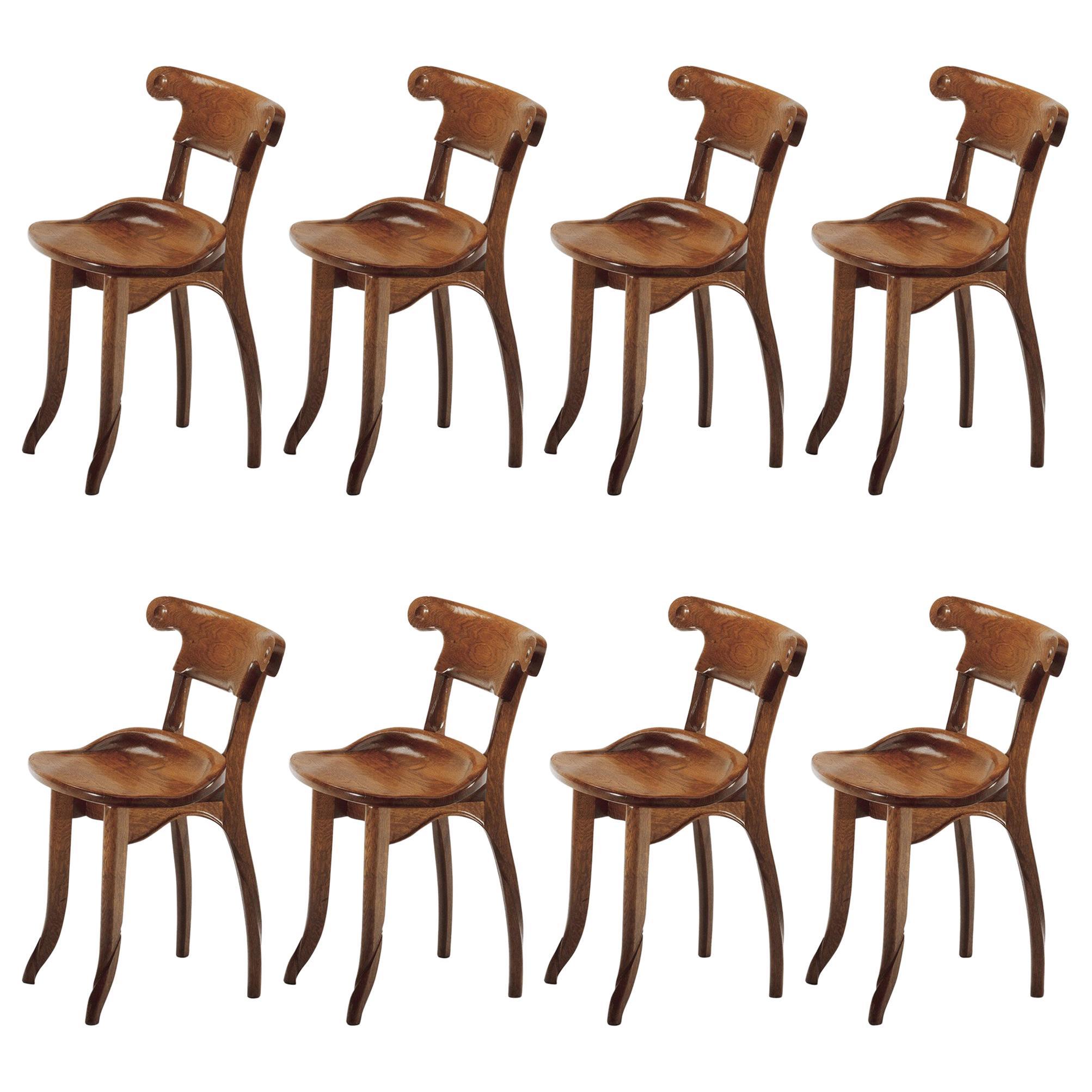 Set of 8 Antoni Gaudi, Jugdenstill, Solid Oak Batllo Spanish Chairs