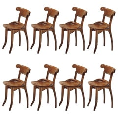 Set of 8 Antoni Gaudi, Jugdenstill, Solid Oak Batllo Spanish Chairs