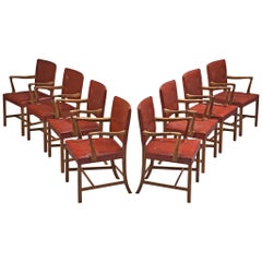 Set of 8 Armchairs in Original Red Leather by Ole Wanscher