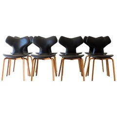 Set of 8 Arne Jacobsen Leather Grand Prix Dining Chairs for Fritz Hansen