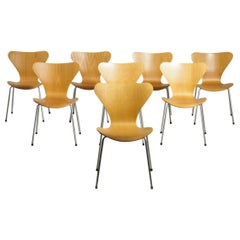 """Set of 8 Arne Jacobsen """"Seven"""" Chairs in Beechwood and Legs in Chrome Steel"""