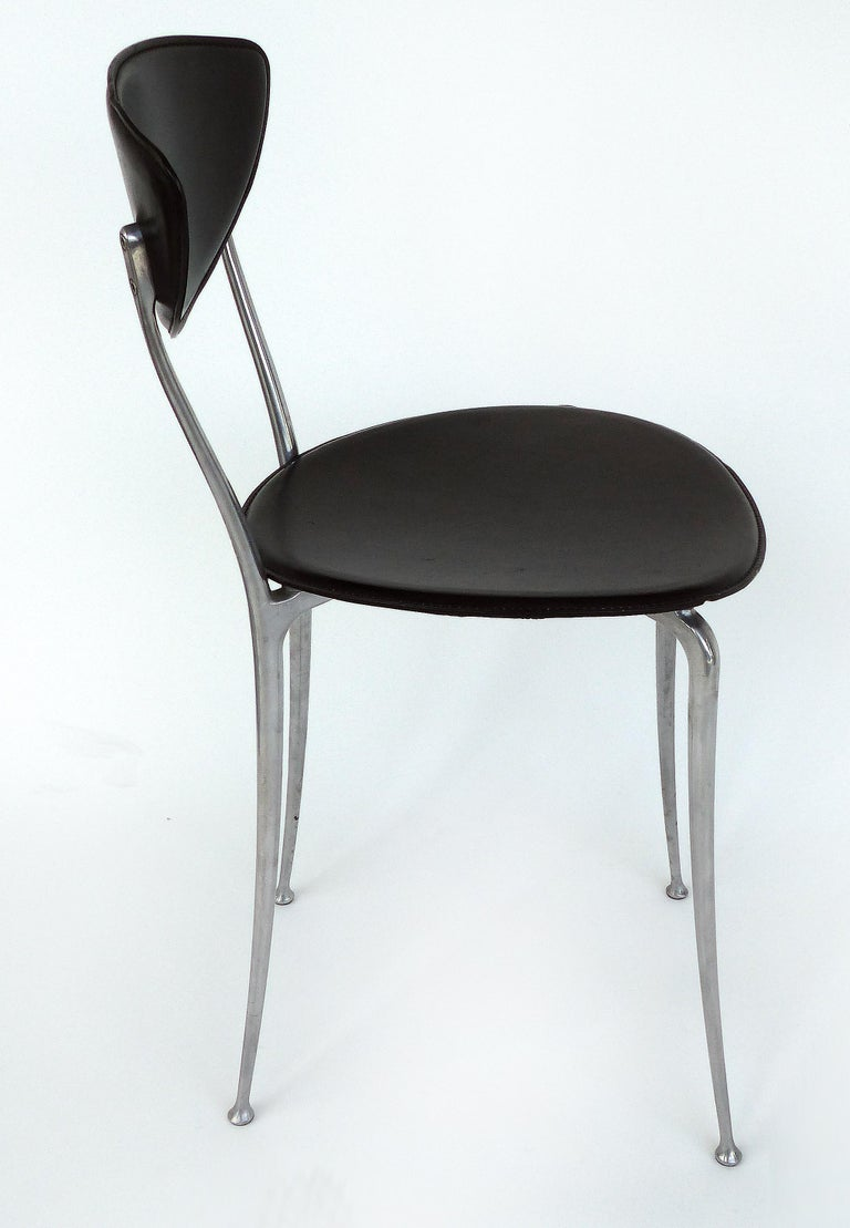 Modern Set of 8 Arper Leather and Aluminum Dining Chairs, Italy For Sale