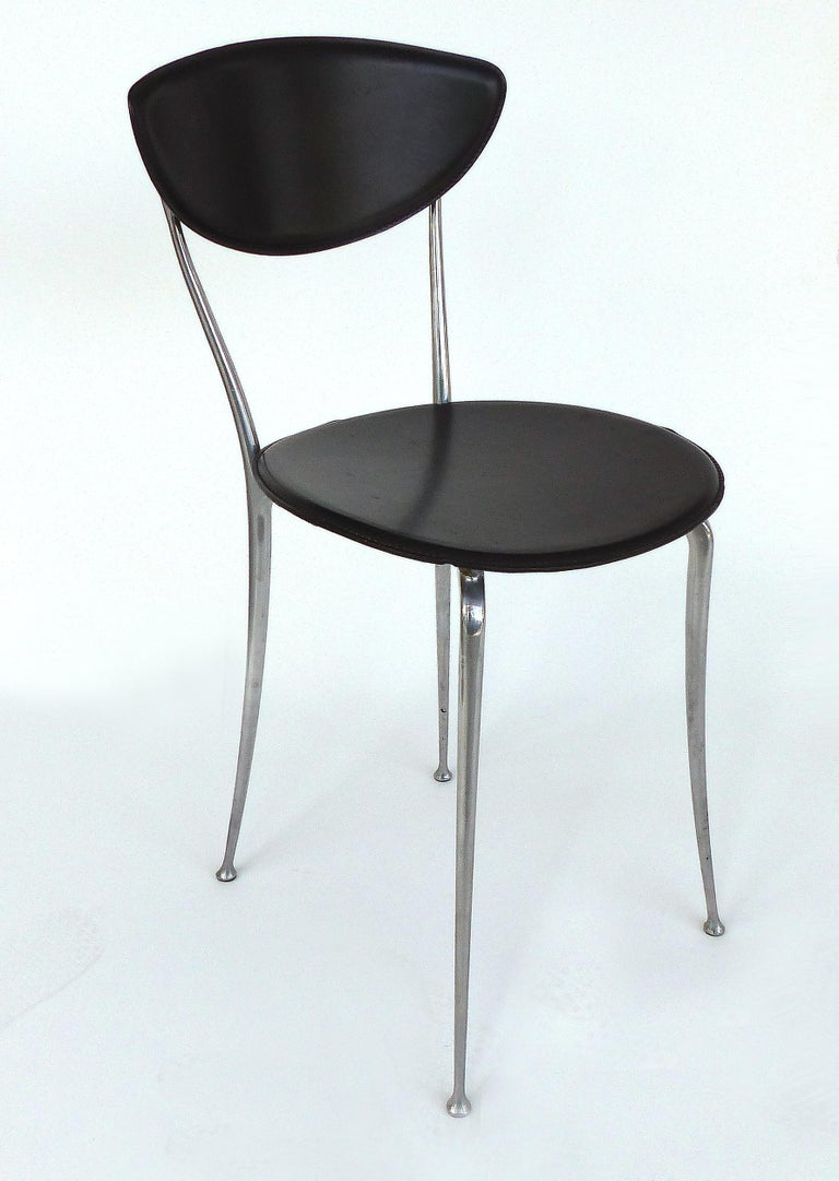 Italian Set of 8 Arper Leather and Aluminum Dining Chairs, Italy For Sale