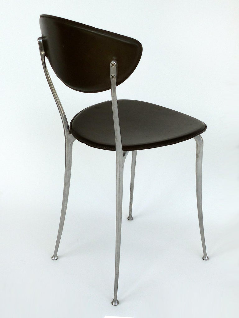 Set of 8 Arper Leather and Aluminum Dining Chairs, Italy In Good Condition For Sale In Miami, FL